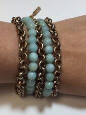 "Designer Nest Faceted Amazonite Statement Bronze 14kt Plated Bracelet 8 + 1"""