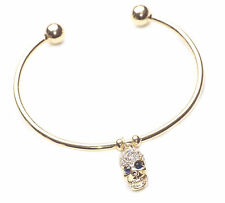 GLAM PUNK ROCK DIAMANTE SKULL OPEN-ENDED GOLD BANGLE WITH PRESSURE POINTS(NS1TR)