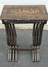 New listing 4 Asian Themed Small Wood Nesting Tables. Black With Intricate Gold Design