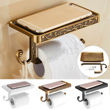 Wall Mounted Toilet Roll Tissue Holder Stand Phone Shelf Bathroom Paper Holder