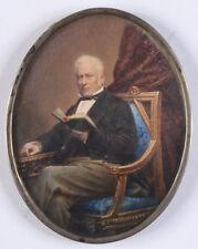 "Domenico Ventura ""Portrait of a reading gentleman"", large miniature, 1879"