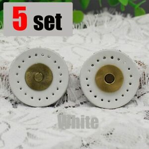 Leather Snap Buttons 5 Pcs/sets Round Genuine Magnetic Snap Buckles Bag Fastener