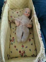 Vintage Horsman Baby Doll in Sweet Outfit with Wee Crib and Pillow