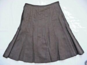 "Talbots NWT 8P $109 Skirt 100% Irish Linen Brown A-Line Godet Pointelle 24.5"""