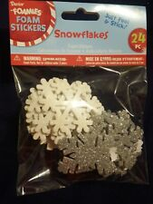 Foam Stickers Glitter Snowflakes Darice 24 Pieces peel and stick stickers