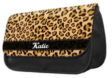 PERSONALISED Pencil Case - Leopard print make up bag brown named gift mum #116