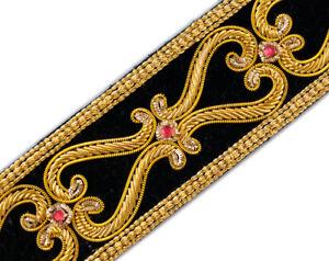 """Finest Hand-Beaded Trim Renaissance Style Gold Bullion on Black Velvet 1.5"""" Wide"""