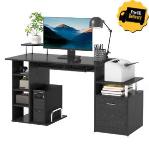 Modern Office Desk Wooden Computer Table w/ Storage Shelves Drawer PC Rack Black