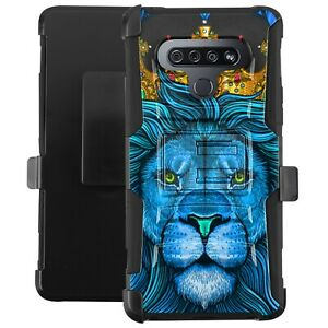 Holster Case For LG Stylo 6/Stylo 6 Plus Hybrid Phone Cover - BLUE ROYAL LION