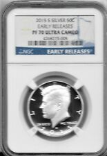 2015-S  SILVER PROOF-70  NGC ULTRA CAMEO KENNEDY HALF DOLLAR EARLY RELEASES