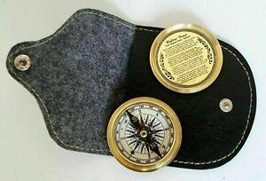 Brass Golden Robert Frost Poem Pocket Compass w/ Black Leather Case Great Gift