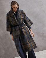 Brunello Cucinelli Strickmantel Strickjacke Blau Braun XS Mantel Cardigan Wolle
