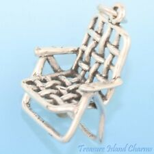 LAWN DECK BEACH CHAIR 3D .925 Solid Sterling Silver Charm Pendant MADE IN USA