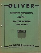 Oliver Vintage 4 Mtd Corn Picker Operators Manual