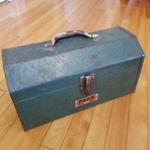 VTG Old Park Toolbox Industrial Metal Model 16H Green w Shelf & Small Meta Box