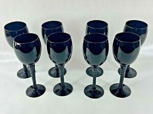Black Glass Wine Glass Lot of 8 Spiral Stem Goblet Drink Bar Dining