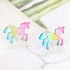 Rainbow Unicorn Earrings Glitter Colorful Horse Ear Stud Kids Girls Jewelry Gift