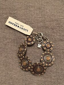 lucky brand silver tone disc link bracelet lobster clasp closure new with tags