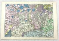 1900 Bacon's Mappa Di Londra Sud Richmond Croydon Kingston Upon Thames Raro