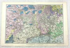 1900 Bacon's Map of London South Richmond Croydon Kingston Upon Thames RARE