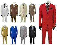 Men's  Slim Fit  Suit two button Jacket and Pants 10 solid color  702Ps