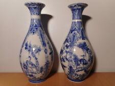 Paire vase chinois porcelaine blanc bleu Chine XX siècle décor fleur oiseau