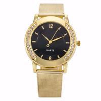 Fashion Women Crystal Luxury Golden Stainless Steel Dress Quartz Wrist Watch New