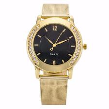Fashion Women Crystal Luxury Golden Stainless Steel Dress Quartz Wrist Watch New