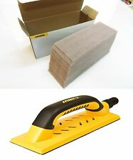 Mirka Handblock gelb 80 x 230 mm Klett + 50 Abranetstreifen 80 x 230 mm Korn 120