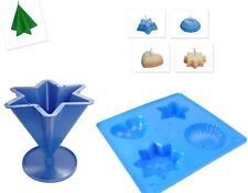 Set x 2, Candle Soap Mould Tray 4 Shapes & 6 Pointed Star Candle Mould Set S7601