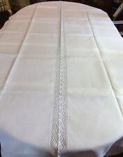 Nappe en lin à liteaux blancs pour longue table étroite - 2m45 x 1m15