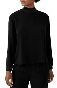 New Eileen Fisher Black Mock Neck Silk Georgette Crepe Boxy Top Size XL