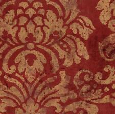 Wallpaper Classic Large Gold Damask on Red Faux Plaster Finish