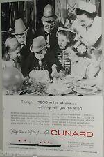 1958 Cunard Line ad, Queen Mary & Elizabeth, birthday