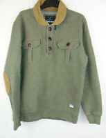Barbour Mens Jumper Pullover Khaki Green Collared Autumn Winter Size Medium M