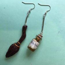 Harry Potter Nimbus 2000 and Felix Felicis Potion Handmade Fimo Earrings