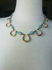 NWT Lucky Brand Charm Necklace Gold Tone Semi Precious Turquoise Color Accents