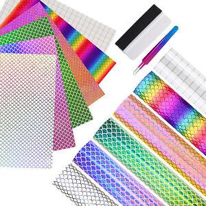 Hologram Mermaid Pattern Craft Vinyl Self Adhesive Cameo Cricut Sticker 5 Sheets