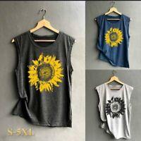 Women Sleeveless Sunflower Print T Casual Loose Tank Top Summer Blouse Shirt