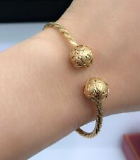 18k Solid Yellow Gold Italian Shiny Two Ball Oval Bangle 2.25 Inches. 8.23 Grams