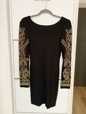 Topshop Black Bodycon Dress With Gold Beaded Embellished Arms, Sz UK8