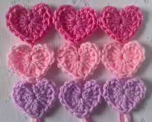 Foxy Flowers 9 Hand Crochet Applique Mixed Pink Hearts - 4cm  x 4cm