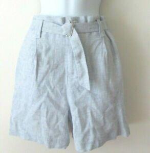 Calvin Klein Women's Belted High Waist Shorts light Blue White Blend Size: 4 NWT