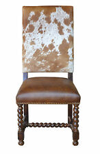 Spanish Cowhide Leather Dining Chair + Distressed Wood Frame + Brass Nails $390