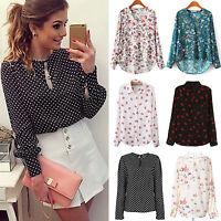 Women's Long Sleeve Loose Floral Chiffon Summer Blouse Shirt Casual Tops New