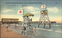 Dayton Beach Red Cross Life Saving Chair Towers Linen Postcard