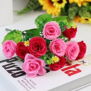 10Heads Artificial Fake Flowers Single Bunch Living Room Balcony Dining Table