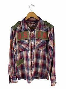 Kenji Urban Snap Button Shirt Mens Size S Red Check Long Sleeve Military Logo