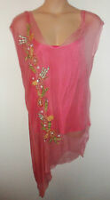 RENE DERHY sheer embroidered top with vest UK XXL 22 US XL  20 EU 50
