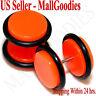 "2072 Neon Orange Fake Cheater Illusion Faux Ear Plugs 16G Bar 1/2"" 12mm Largest"